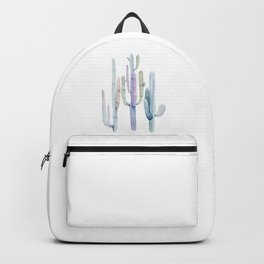 Minimalist Cactus Drawing Watercolor Painting Turquoise Cacti Backpack