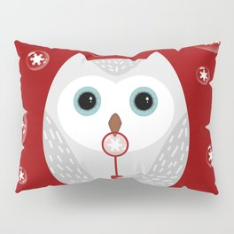 Christmas owl on red Pillow Sham