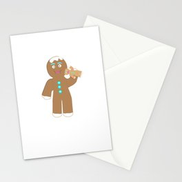 Gingerbread Man eating Gingerbread cookie Stationery Cards