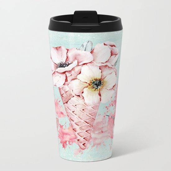 Pink & Teal Summer Fun Flower Ice Cream Waffle -Illustration Metal Travel Mug