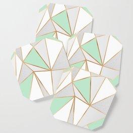 Mint Green, Grey & Gold Geo Coaster
