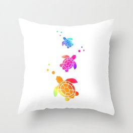 Sea Turtle Bubbles Throw Pillow