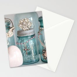 Vintage Mason Jars Shabby Chic Cottage Jeweled Decor Stationery Cards