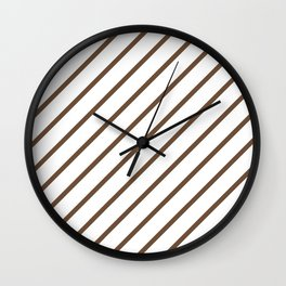 Diagonal Lines (Coffee/White) Wall Clock