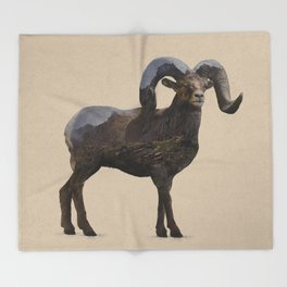 The Rocky Mountain Bighorn Sheep Throw Blanket