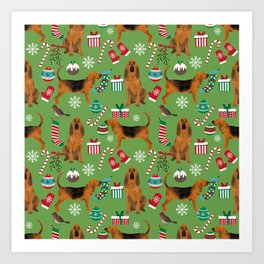 Bloodhound christmas candy canes and snowflakes holiday dog breed gifts Art Print