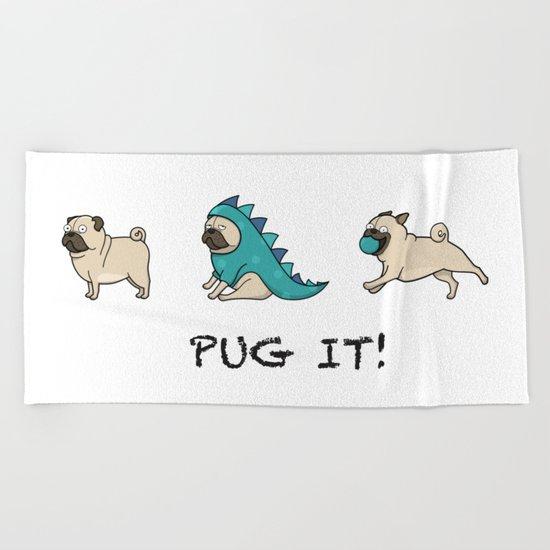 PUG, PUGS (great on teeshirts)! Beach Towel