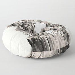 Life on a pedestal, floral skull Floor Pillow
