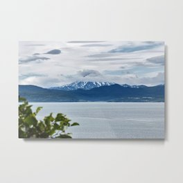 Beautiful summer seascape, view of Pacific Ocean and mountains Metal Print