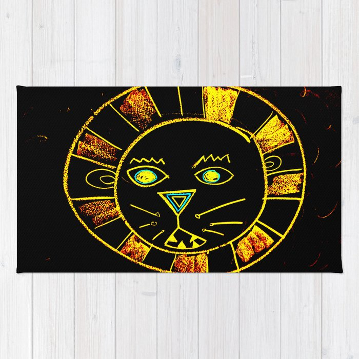 Neon Chalkboard Lion Face GRRR Rug