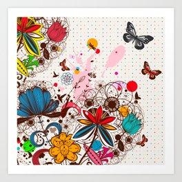 Buttlerflies and Flowers Art Print
