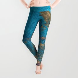 Coral Reef [2]: colorful abstract in blue, teal, gold, and pink Leggings