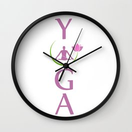Man in yoga pose Wall Clock