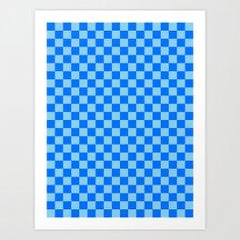Baby Blue and Brandeis Blue Checkerboard Art Print