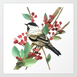 Berry Nice Chickadee Art Print