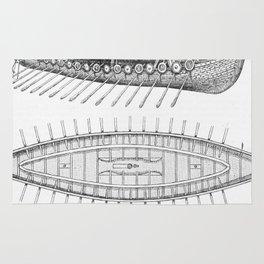 Vintage Viking Naval Ship History and Diagram Rug