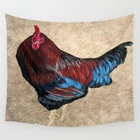 rooster Wall Tapestries featuring The Rooster by maggs326