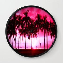 Pink Summer Palm Trees Wall Clock