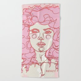 Pinky Pink Curls Beach Towel