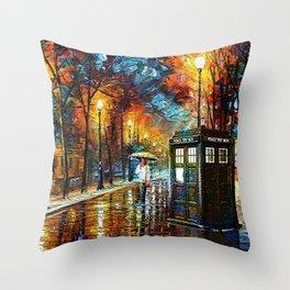 Tardis And Umbrella girl Throw Pillow