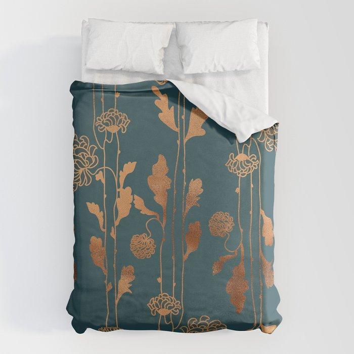 Art Deco Copper Flowers  Bettbezug
