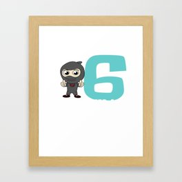 Birthday Ninja Party 6th Samurai Ninjas Gift Japanese Ninja stars Fighter Gift Framed Art Print