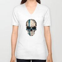 finland V-neck T-shirts featuring Dark Skull with Flag of Finland by Jeff Bartels
