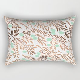 Olive Branches – Rose Gold & Mint Rectangular Pillow