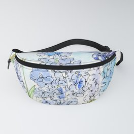 Watercolor Wildflower Garden Dragonfly Blue Flowers Daisies Fanny Pack