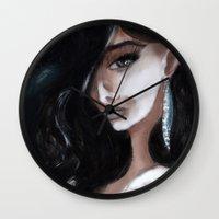 "edgar allan poe Wall Clocks featuring Edgar Allan Poe: Ligeia by Barbora ""Mad Alice"" Urbankova"