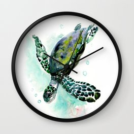 Sea Turtle, underwater scene,  green turquoise beach house design Wall Clock