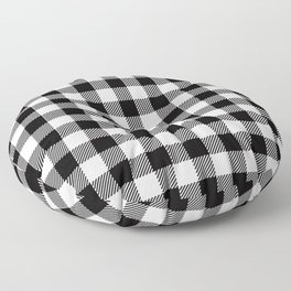 90's Buffalo Check Plaid in Black and White Floor Pillow
