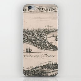 Vintage Pictorial Map of Constantinople (1696) iPhone Skin