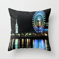 kobe Throw Pillows featuring Kobe Neon Haze by Dora