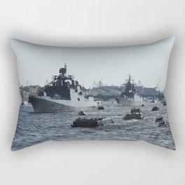Russian Navy Battleships with passenger boats on Neva River. Rectangular Pillow