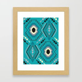 Geometry in teal blue Framed Art Print