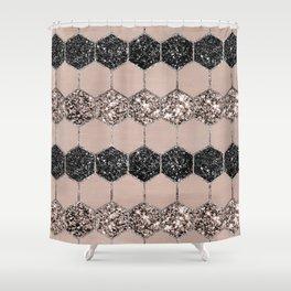 Blush Hexagon Glitter Glam #1 #geometric #decor #art #society6 Shower Curtain