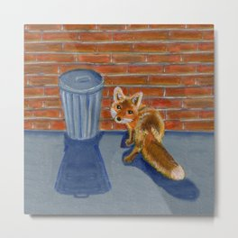 Looking for dinner, urban fox Metal Print