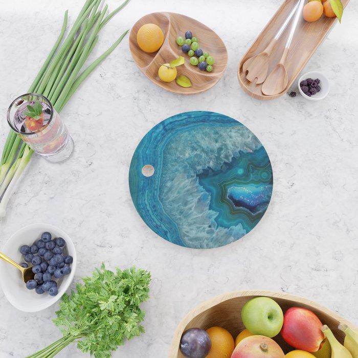 Blue agate marble faux druse crystal quartz gem gemstone geode mineral stone photograph hipster Cutting Board