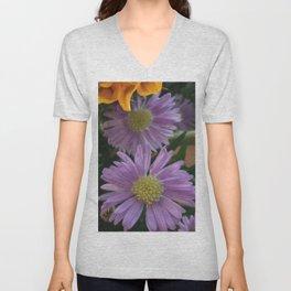 Purple Daisy Unisex V-Neck