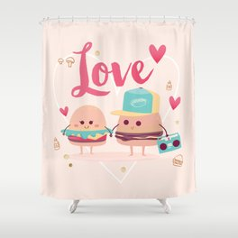 Burgers in Love Shower Curtain