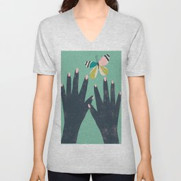 Hands and Butterfly Art Unisex V-Neck