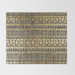 Swanky Faux Gold and Black Hand Drawn Aztec Throw Blanket