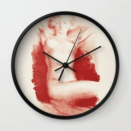 Naked woman showing her breasts, vintage nude illustration Wall Clock