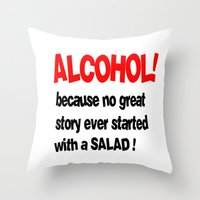 alcohol Throw Pillows featuring alcohol by Sava Miskovsky