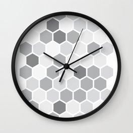 Texture hexagons - Shades of Grey Wall Clock