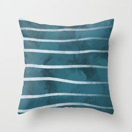 Blue with White Stripes Throw Pillow