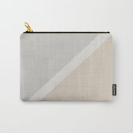 Light Beige White Gray Minimal Stripe Design 2021 Color of the Year Uptown Ecru & Swedish Grey Carry-All Pouch