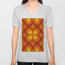 70s Circle Design - Orange Background Unisex V-Neck
