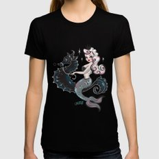 Pearla on Seahorse Womens Fitted Tee Black LARGE
